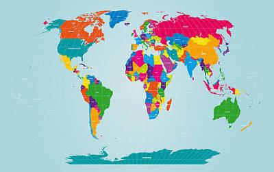 Map Of The World Digital Art - World Map  by Michael Tompsett