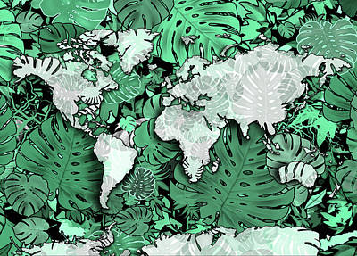 Digital Art - World Map Monstera Leaves  2 by Bekim Art