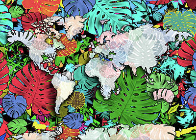Digital Art - World Map Monstera Leaves  3 by Bekim Art