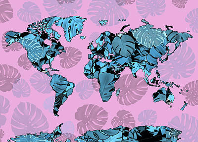 Digital Art - World Map Monstera Leaves  4 by Bekim Art