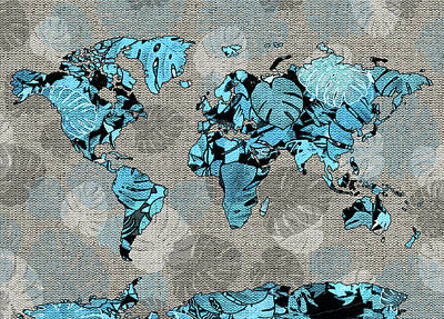 Digital Art - World Map Monstera Leaves  5 by Bekim Art