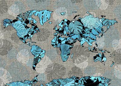 Digital Art - World Map Monstera Leaves  5 by Bekim Art