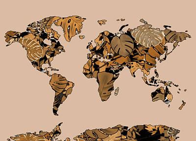 Digital Art - World Map Monstera Leaves  6 by Bekim Art