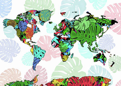 World Map Monstera Leaves  7 Art Print