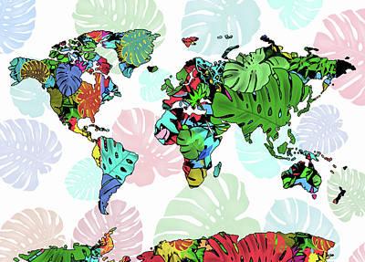Digital Art - World Map Monstera Leaves  7 by Bekim Art