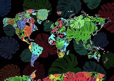 World Map Monstera Leaves  8 Art Print
