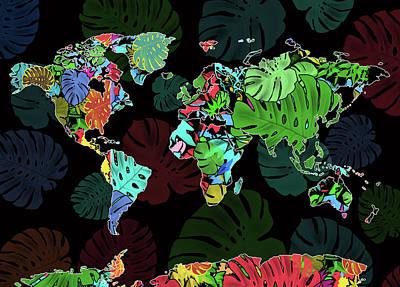 Digital Art - World Map Monstera Leaves  8 by Bekim Art