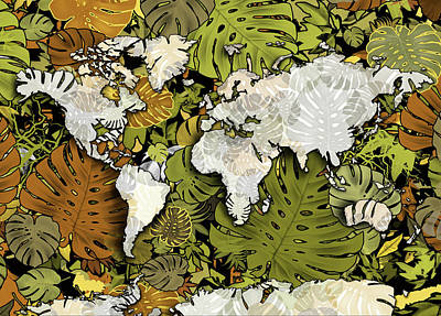 Digital Art - World Map Monstera Leaves  by Bekim Art