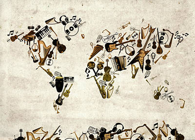 Digital Art - World Map Music 1 by Bekim Art