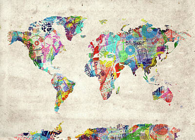 Music Royalty-Free and Rights-Managed Images - World Map Music 12 by Bekim Art