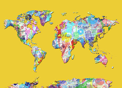 Digital Art - World Map Music 13 by Bekim Art