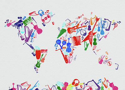 Digital Art - World Map Music 3 by Bekim Art