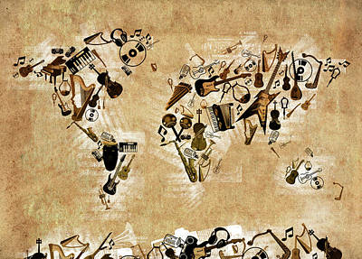 Jazz Digital Art - World Map Music 4 by Bekim Art
