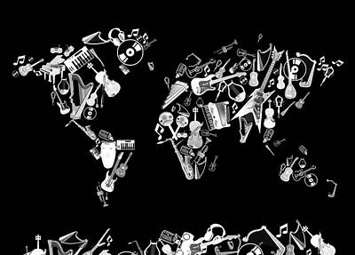 Digital Art - World Map Music 5 by Bekim Art
