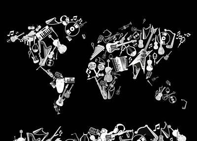 Rock The World Digital Art - World Map Music 5 by Bekim Art
