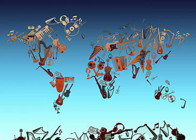 Jazz Digital Art - World Map Music 6 by Bekim Art