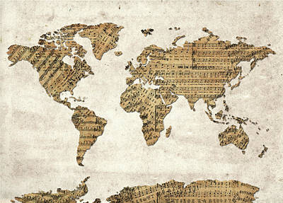 Music Royalty-Free and Rights-Managed Images - World Map Music 9 by Bekim Art