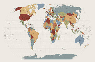 World Map Muted Colors Art Print by Michael Tompsett