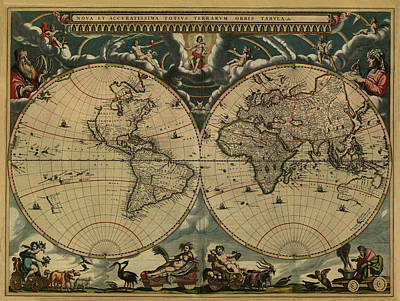 Painting - World Map Of 1664 by Joan Blaeu