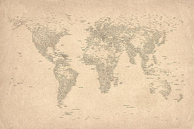 World Map Of Cities Art Print by Michael Tompsett