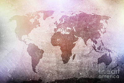 Background Photograph - World Map On Grunge Concrete Wall In Colorful Spotights by Michal Bednarek