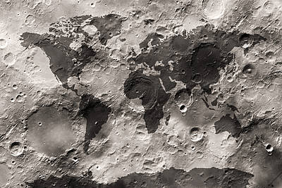 Maps Digital Art - World Map On The Moon's Surface by Michael Tompsett
