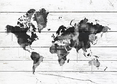 World Map Poster Mixed Media - World Map On Wood by Del Art