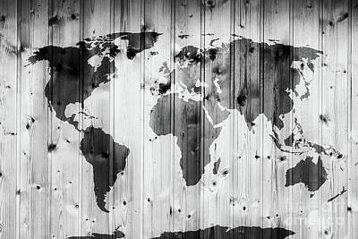 Photograph - World Map On Wooden Wall. Vintage by Michal Bednarek