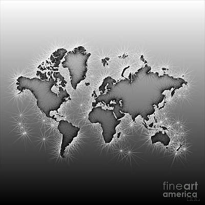 World Map Opala In Black And White Art Print by Eleven Corners