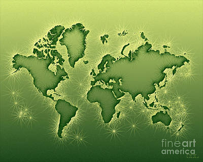World Map Opala In Green And Yellow Art Print