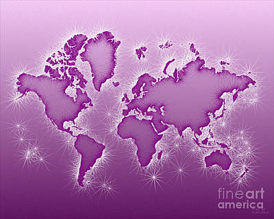 World Map Opala In Purple And White Art Print
