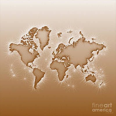 World Map Opala Square In Brown And White Art Print
