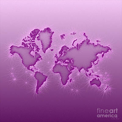 World Map Opala Square In Purple And Pink Art Print