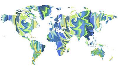 Painting - World Map Organic Blue  by Irina Sztukowski