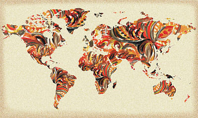 Painting - World Map Organic Brush Strokes by Irina Sztukowski