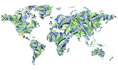Painting - World Map Organic Green And Blue by Irina Sztukowski