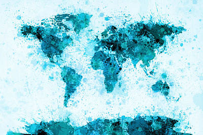 World Map Paint Splashes Blue Print by Michael Tompsett