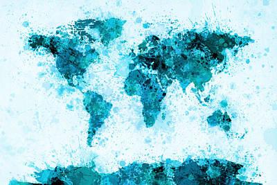 Atlas Digital Art - World Map Paint Splashes Blue by Michael Tompsett
