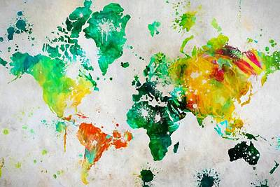 Education Painting - World Map Paint Splatter by Dan Sproul