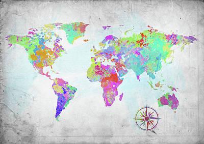 Photograph - World Map Paint Splatter by Ricky Barnard