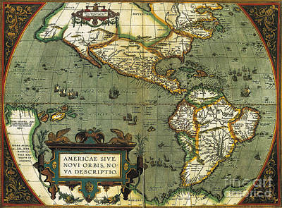 Old Map Photograph - World Map by Photo Researchers