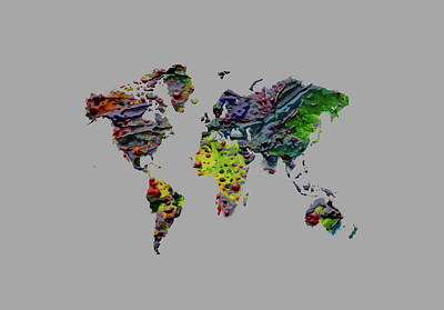 Mixed Media - World Map Plaster 16 by Brian Reaves