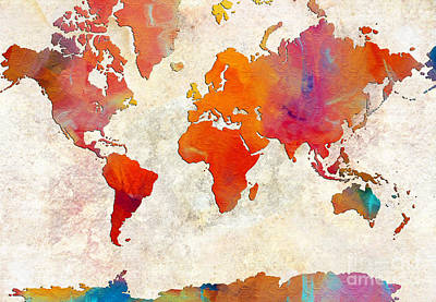 Digital Art - World Map - Rainbow Passion - Abstract - Digital Painting 2 by Andee Design