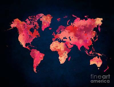 World Map Red Art Art Print