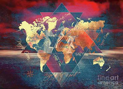 World Map Sacred 3 Art Print by Justyna JBJart