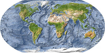 Relief Map Digital Art - World Map, Shaded Relief With Ocean Floor. by Michael Schmeling