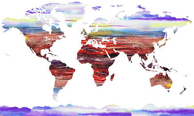 Painting - World Map Silhouette Watercolour by Irina Sztukowski