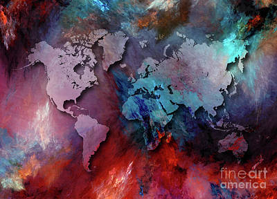 Map Of The World Digital Art - World Map Special 2 by Justyna JBJart