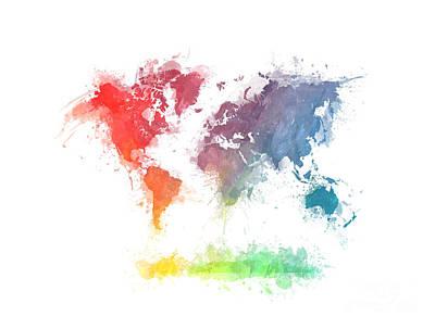 Africa Map Digital Art - World Map Splash  3 by Justyna JBJart