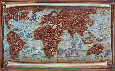 Painting - Map Of The World-world Map- The History Of Coffee Map Detaile by Vali Irina Ciobanu